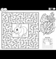 maze game with carrot and lettuce coloring book vector image vector image