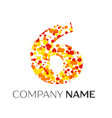 number six with orange yellow red particles vector image vector image
