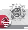 Paper and hand drawn earth globe emblem with icons vector image vector image