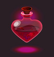 pink glossy heart-shape bottle with blood vector image