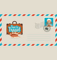 postal envelope with stamp on the theme of travel vector image vector image