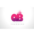 qb q b letter logo with pink purple color and vector image