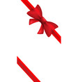 red ribbon with red bow isolated bow vector image vector image