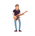 rock or pop musician with guitar guitarist vector image vector image