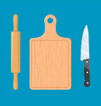 rolling pin cutting board and knife vector image vector image