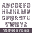 Sans serif font with the contours and lettering vector image vector image