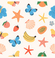 seamless pattern with summer tropical fruits vector image