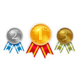set champion gold silver and bronze award medals vector image