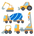 Set flet cars tractor carrier concrete mixer vector image