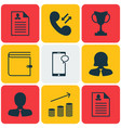 set of 9 management icons includes tournament vector image vector image