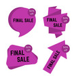 set of four pirple final sale stickers with text vector image vector image