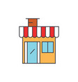 shop building line icon concept shop building vector image vector image