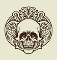 silhouette skull vintage ornaments vector image vector image