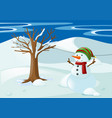 snowman with hat and scarf vector image