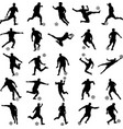 soccer players silhouettes collection vector image vector image