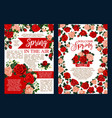 spring holiday banner with flower frame and ribbon vector image