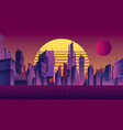 synthwave city background vector image