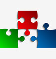 three rgb piece puzzle jigsaw vector image vector image