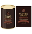 tin can with label of coffe beans vector image