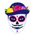 traditional mexican head skull dia de los muertos vector image