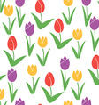 Tulips Seamless Pattern Flower Background Summer vector image vector image