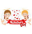 two cupids hold a red ribbon with an inscription vector image vector image