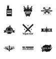 vape bar logo set simple style vector image vector image