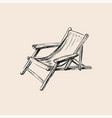 wooden collapsible chaise lounge for rest hand vector image