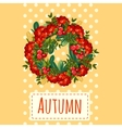 Wreath of leaves and berries holiday decoration vector image