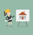 young engineer presenting house building on vector image vector image