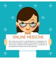 Online medicine banner Woman doctor shows text vector image