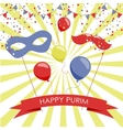 Purim holiday card or banner design vector image