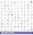 100 craft icons set outline style vector image vector image