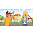 A boy and a girl talking across the neighborhood vector image