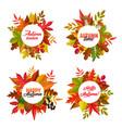 autumn season round frames fallen leaves vector image vector image
