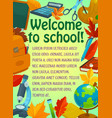 back to school greeting banner with student items vector image vector image