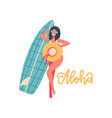 beautiful girl making photo with hat and surf vector image vector image