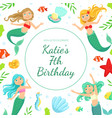 birthday banner template with cute mermaids