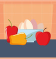 bowl with eggs pepper apple preparation cooking vector image vector image