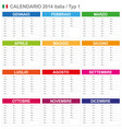 Calendar 2014 Italy Type 1 vector image