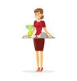 cheerful waitress character wearing uniform vector image vector image