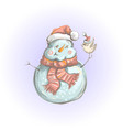 christmas greeting - snowman feeding a bird vector image