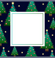 christmas tree with star on dark blue banner card vector image