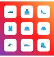 clothes icons colored set with heels shoe vector image