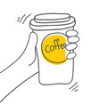 coffee break cup of coffee in hand on white vector image vector image
