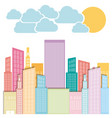 color city builds with clouds and sun vector image