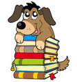 cute dog on pile of books vector image