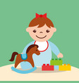 cute little girl rocking horse and blocks bricks vector image