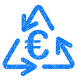 euro recycling icon grunge watermark vector image vector image