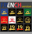 french set of number 19 templates vector image vector image